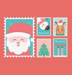 collection celebration happy christmas stamps vector image