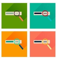 Concept of flat icons with long shadow find money vector