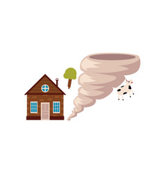 cottage house danger of being destroyed by storm vector image
