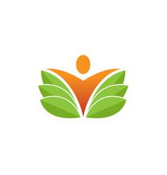Creative fresh body leaf nature spa logo vector