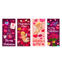 cupid valentines day gift and hearts banners vector image