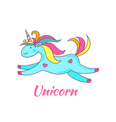 cute greeting card with cartoon flying unicorn vector image