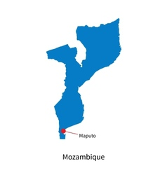 Detailed map of Mozambique and capital city Maputo vector