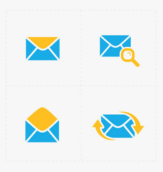 Email and envelope icons on white background vector
