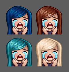 emotion icons crying female vector image