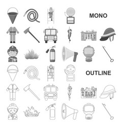Fire department monochrom icons in set collection vector