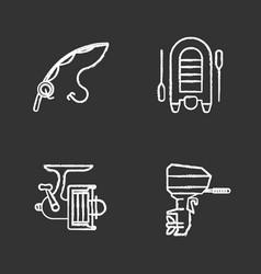Fishing chalk icons set vector