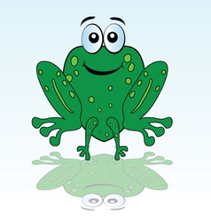 Funny green frog vector