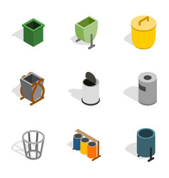Garbage container icons isometric 3d style vector