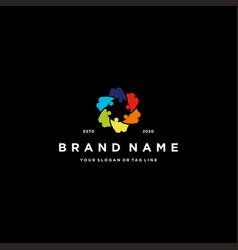 Gear people team colorful logo design vector