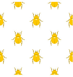 Gold scarab beetle pattern seamless vector