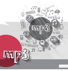 Hand drawn music icons with icons background vector image vector image
