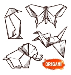 Hand Drawn Origami Figures Set vector image
