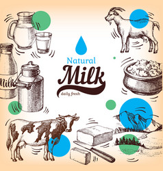 Hand drawn sketch milk products background vintage vector