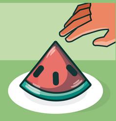Hand grabbing watermelon vector