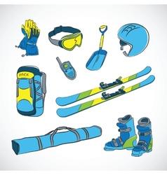 Handdrawn colorful ski icon set vector