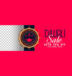 Happy diwali festival sale banner with image space vector