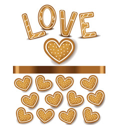 heart shape cookies realistic vector image