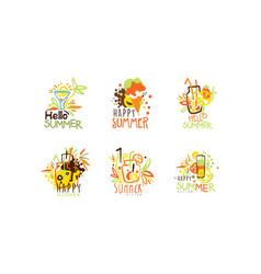 hello happy summer logo design set summer vector image