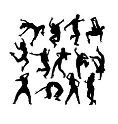 hip hop dancers silhouettes vector image