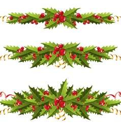 holly berry borders vector image vector image