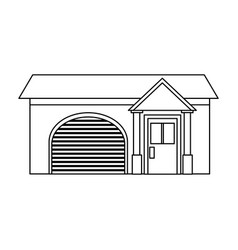 home garage facade structure outline vector image