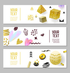 horizontal banners gold glitter geometric elements vector image