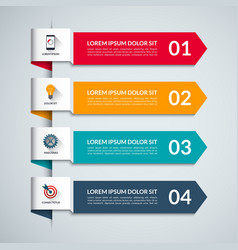 Infographic template with 4 arrows options steps vector image