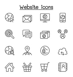 internet browser website icon set in thin line vector image