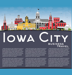 Iowa city skyline with color buildings blue sky vector