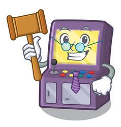 Judge arcade machine in cartoon shape vector