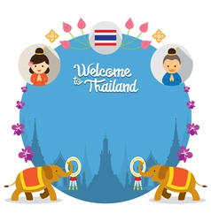 Kids and Elephant Welcome to Thailand Frame vector