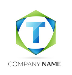 Letter t symbol in the colorful hexagonal vector