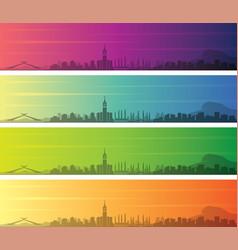 Mecca multiple color gradient skyline banner vector