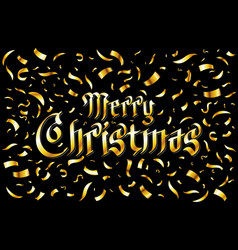merry christmas card gold template over black vector image