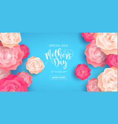 Mothers day business sale banner with pink flowers vector