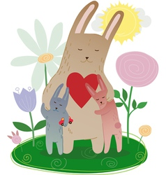 Mothers Day Mom hugging its leverets bunny drawn vector