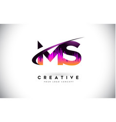 Ms m s grunge letter logo with purple vibrant vector