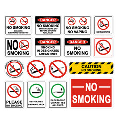 no smoking warning signs smoking prohibited vector image