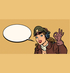 okay gesture girl woman retro aviator pilot vector image