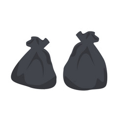 packages with garbage big black plastic bags with vector image