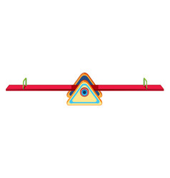 Red seesaw playground equipment vector