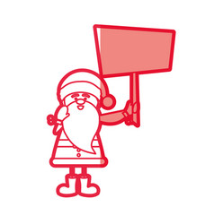 Red silhouette caricature of santa claus with vector