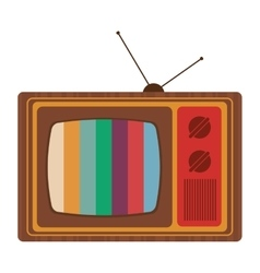 Retro classic tv with antenna and colored stripes vector