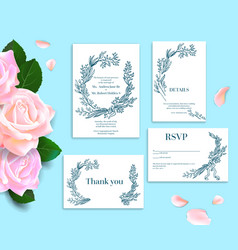 Rose wedding stationery vector