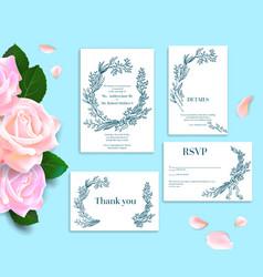 rose wedding stationery vector image
