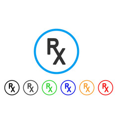 Rx medical symbol rounded icon vector