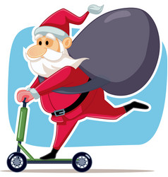Santa claus riding electric scooter vector