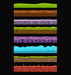 seamless landscape elements set vector image