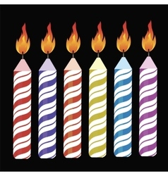 Set of Colorful Burning Retro Candles vector image